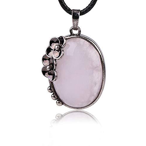 Stone Necklace,Vintage Elegant Rose Quartz Plum Blossom Shape Pendant Unisex Leather Chain Men Women Energy Balance Birthstone Gem Jewelry Gifts