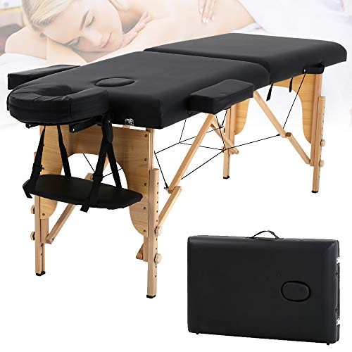 Professional Massage Table Portable Massage Bed Lash Bed SPA Bed 84 Inches Salon Bed W Carry Case, 2 Folding Removable Headrest Folding Facial Solon Tattoo Bed (65 x 37 x 8 Inch) Black