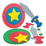 Baker Ross Kit spada e scudo supereroe (confezione da 2) - Accessori per travestimenti per bambini