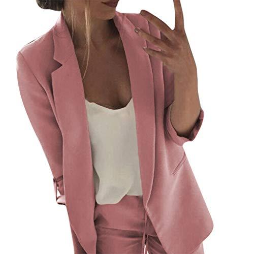 Business Büro Anzug Jacken, 12shage Damen Elegant Langarm Freizeit Blazer Sakko Einfarbig Slim Fit Geschäft Büro Jacke Kurz Mantel Anzüge Bolero mit Tasche