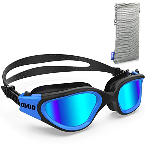 OMID Swim Goggles, Comfortable Polarized Swimming Goggles, Anti-Fog Leak Proof UV Protection Crystal Clear Vision Swim Goggles for Men Women Adult Youth (Blue)