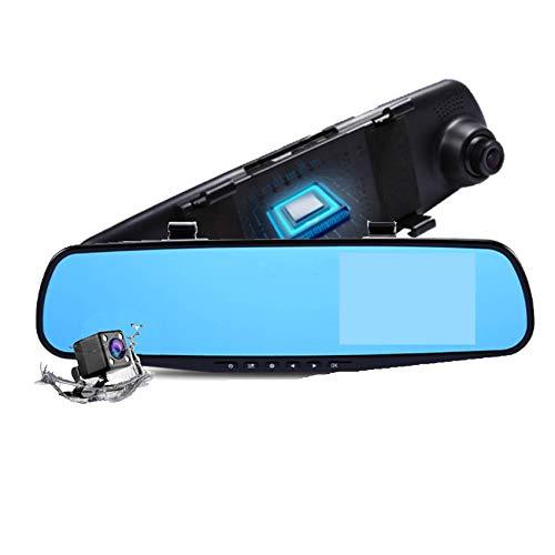 XCYPSH 1080P HD Car Rearview Mirror Dash Cam, Front and Rear Dual Lens Car Camera, Loop Recording, Night Vision, Waterproof Backup Rear View Camera, Anti-Glare Blue Mirror