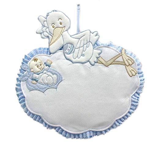 Lazo de nacimiento de niño azul con nueva y cigüeña porta bebé para bordar 30 x 30 cm