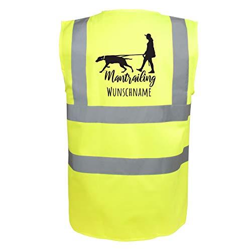Mantrailing Hundesport Warnweste Sicherheitsweste mit Namen oder Text personalisiert (Motiv 7) (S, Neongelb)