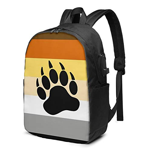 CHENWE Bear Pride Flag Stripe Trendy Travel USB Backpack,17 Inch Computer Business Backpacks Student Backpack Casual Hiking Daypack