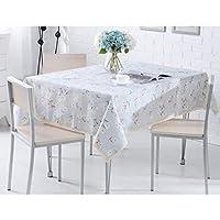 テーブルクロスダイニングテーブルカバーダイニングテーブルカバー長方形の正方形のパターンカントリースタイルの綿厚さ耐熱綿リネンキッチンダイニングルーム (Color : Blue, Size : 130*130CM)