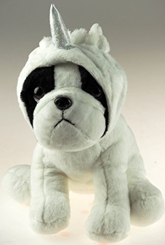 Giftworks Mono de peluche grande de 27 cm con diseño de perro en unicornio – 3 colores a elegir