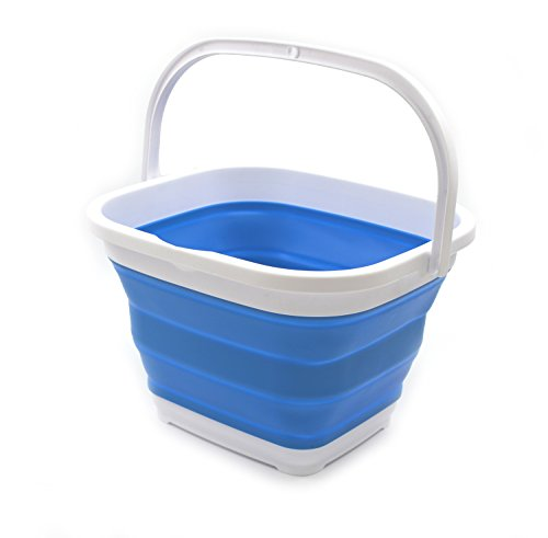 SAMMART 10L (2.6 gallon) Collapsible Rectangular Handy Basket/Bucket (1, Blue)