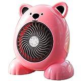 MKXULO Mini Ventilador Calefactor eléctrico de Escritorio para el hogar, Calefactor con calefacción rápida de Oso de Dibujos Animados, para Invierno,Rosado