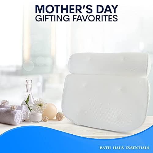Bath Haus Essentials Premium (Quality) Mom's Luxury Bath Pillows for Head, Neck, Back Support, Bath Tub Pillow Headrest, Bathtub Accessories, Bath Cushion - Bath Gifts - Bath Stuff Accessories