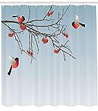 gwegvhvg Rowan Duschvorhang Bullfinch Vögel fliegen & auf Ästen Wintermotive Grafik Design Stoff Badezimmer Dekor Set mit Haken 180cm lang Dunkelbraun