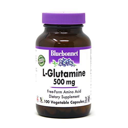 Bluebonnet Nutrition L-Glutamine 500mg, Supports Immune Function*, Nitrogen Transporter*, Soy-Free, Gluten-Free, Non-GMO, Kosher Certified, Vegan, 100 Vegetable Capsules, 100 Servings