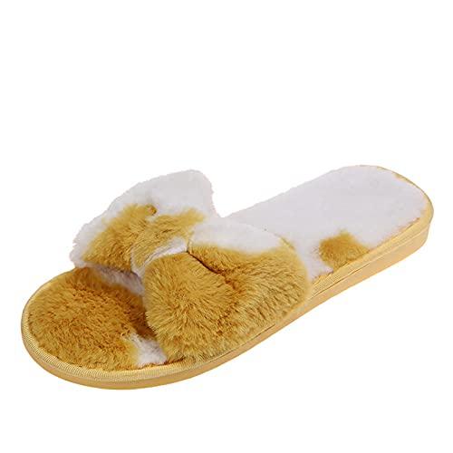 TYTUOO Pantoufles plates en velours à bout rond et bout ouvert pour femme - Motif vache, a jaune, 38.5 EU