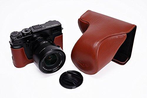 FUJIFILM 富士フイルム X-PRO2 用本革レンズカバー付カメラケース(18-55mm用) ブラウン、ブラック (カメラケース&ストラップLK15&バッテリーケース, ブラウン)