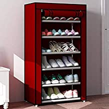 PARASNATH Mild Steel Red Cloth 6-7 Shelves Shoe Rack/Shoe Stand Made in India(Limited Time Offer)