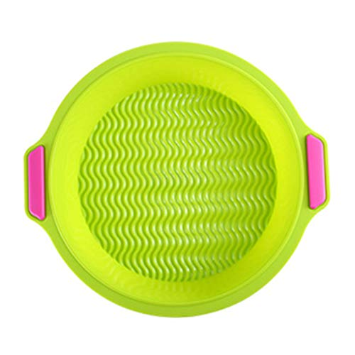 JKPOWER 8 inch Silicone Round Cake Pan Non-Stick Round Baking Mold with Grips Oven Safe Silicone 8inch Cake Pan Green