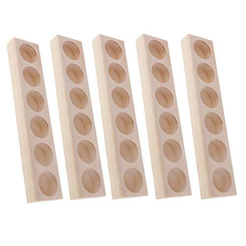 chiwanji 5 Stück Massivholz einstöckig Aromatherapie Parfüm Ätherisches Öl Display Ständer Aufbewahrung Organizer Regal Holz Halter für 6 Stück 5 ml 10 ml 15 ml Flaschen