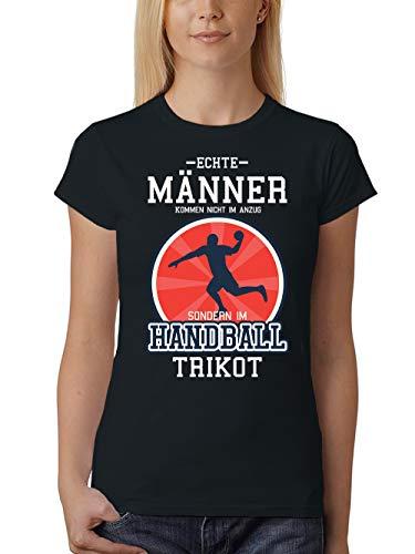 clothinx Damen T-Shirt Unisex Echte Männer Kommen Nicht Im Anzug Sondern Im Handball Trikot Schwarz Gr. S
