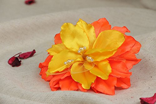 Handmade Hair Clip with Volume Yellow and Orange Lily Flower Made of Satin Fabric