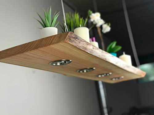 Blockholz-Schmiede Holz Pendellampe Lärche Smart Home hänge Leuchte, Osram 5W Dimmbar Warmweiß, Größe: 100cm 4 LEDs