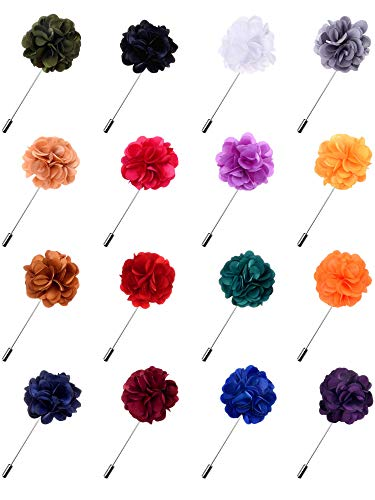 Fanrel 16 Pieces Flower Men's Lapel Pins Handmade Satin Boutonniere Pin for Suit Wedding Groom with a Box(Multicolor 2)