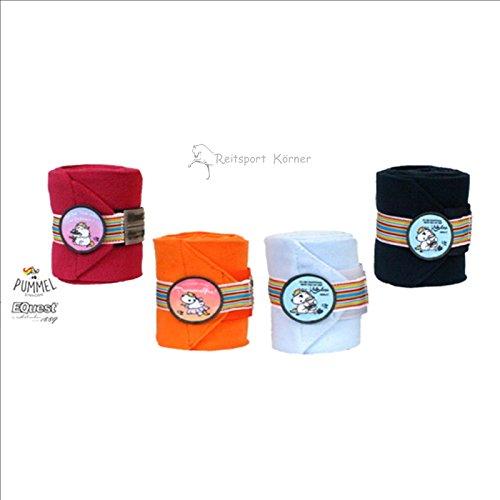 Pummeleinhorn 2.0 Bandagen Alpha Fleece Pummel Stripe+Patch Warmblut, Farbe:orange
