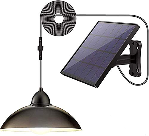 YUKM Solarlicht Outdoor Solar Light IP65 wasserdicht 16.4ft Draht Remote gesteuert LED Shed Light Chandelier mit 270 ° breit einstellbares Sonnenkollektor