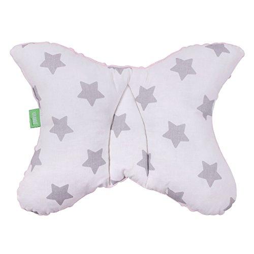 LULANDO Babykissen für einen gesunden Schlaf 40x30 cm, atmungsaktives Kissen für Kinder, ergonomisches Babykopfkissen, Kuschelkissen Made in EU, Kinderwagen-Kissen mit Tasche Pink - Grey Stars