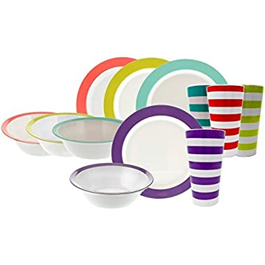 Handi-Ware 12-Piece MultiColor Classic Wide Rim Melamine Set - Break-Resistant - Indoor/Outdoor Dinnerware Set - Service For 4 - by Unity (Assorted w/Tumblers)