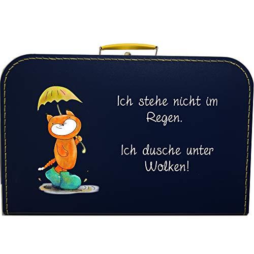 Pappkoffer Fuchs & Spruch Ich Stehe Nicht im Regen. Ich Dusche unter Wolken! Koffergröße 40 x 25,5 x 11 cm, Farbe dunkelblau