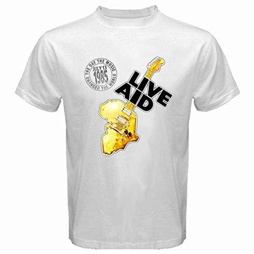 New Live Aid 1985 Logo Rock Music Concert Men's White T-Shirt Size S-3Xl