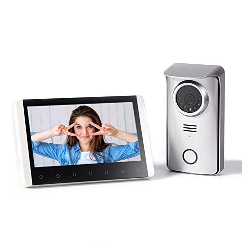 SIMBAILAI 7-Zoll Drahtlose Video Türsprechanlage Türklingel Intercom System, 300M, High Definition-Anzeige, Farbe kabellos mit Bild Speicher Station Nachtsicht,Nachtsicht,IP55