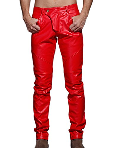 Idopy Men`s Slim Fit Party Performance Biker Faux Leather Jeans Pants Red 36