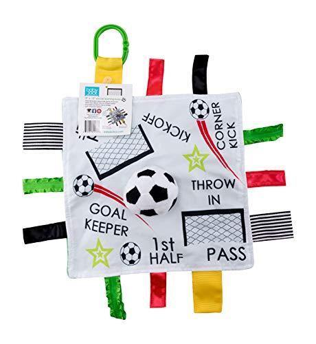 Bébé Jack & Co et de Educational Sensorielle pour bébé de dentition fermé ruban Tag Lovey Couverture avec sécurité en peluche : 25,4 x 25,4 cm (Soccer Futbol)