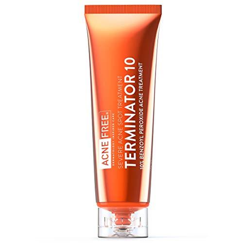 Acne Free Terminator 10 Acne Spot Treatment with Benzoyl Peroxide 10% Maximum Strength Acne Cream Treatment, 1 Ounce - Pack Of 1
