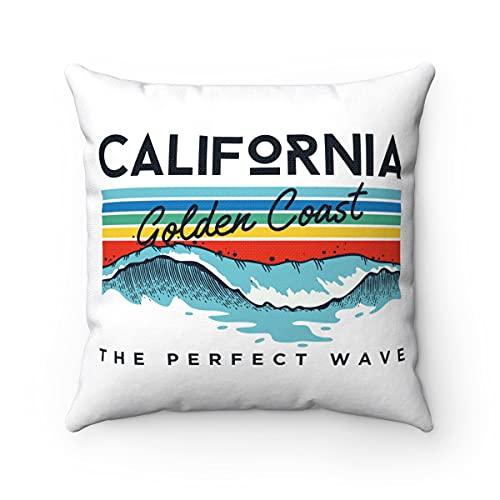 Promini California Golden Coast - Fundas de cojín decorativas cuadradas para sofá, dormitorio, oficina, coche, 40,6 x 40,6 cm