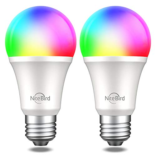Smart Light Bulb,NiteBird Dimmable WiFi Bulbs Works with Alexa Echo Google Home and Siri, RGB Color Changing LED Lights Bulbs, A19 E26 8W Warm White 2700k, 75W Equivalent, No Hub Required,2 Pack