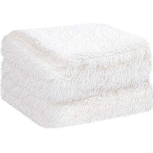 PiccoCasa Kuscheldecke Doppelseitige Langhaar Decke Kunstfell Sherpa Decke Tagesdecke Sehr weich als Bettüberwurf Bettdecke Sofadecke für Doppelbett Sofa usw. Weiß 230x230 cm