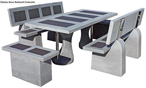 Conjunto Mesa Comedor Jardin DE Piedra Artificial con Fibra Y Acabados DE Acero Inoxidable. Status INOX Color (Cemento)
