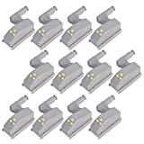 lovelyhome ABS Wardrobe Cabinet Hinge LED Motion Sensor Light System, Night Lights (Warm White, 0.25 W) Set of 12