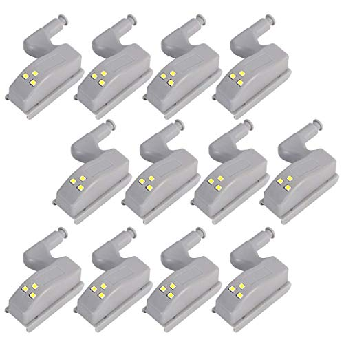 lovelyhome Wardrobe Cabinet Hinge LED Motion Sensor Light System, Night Lights for Kitchen Living Room Bedroom Cupboard Closet (White, 0.25 W) - Set of 12