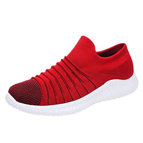 AIni Herren Schuhe Beiläufiges Mode 2019 Neuer Heißer Gewebte Atmungsaktive Einbeinige Faule Socken Schuhe Einfarbig Lässige Turnschuhe Freizeitschuhe Partyschuhe (43,Rot)