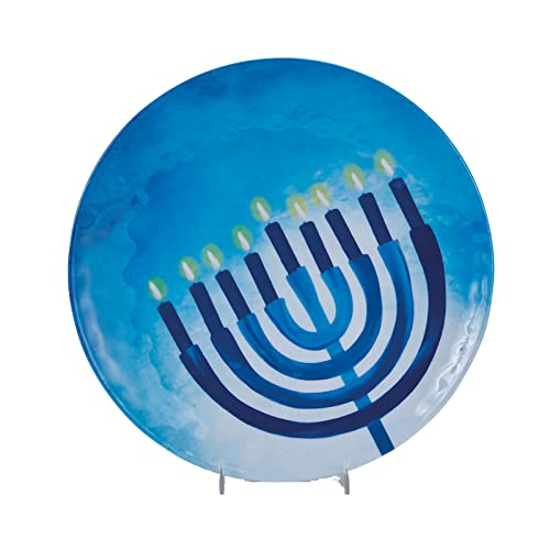 Chanukah Serving Tray for Parties - Sahpphire Collection (Round Melamine Serving Plate) Hanukkah Gift