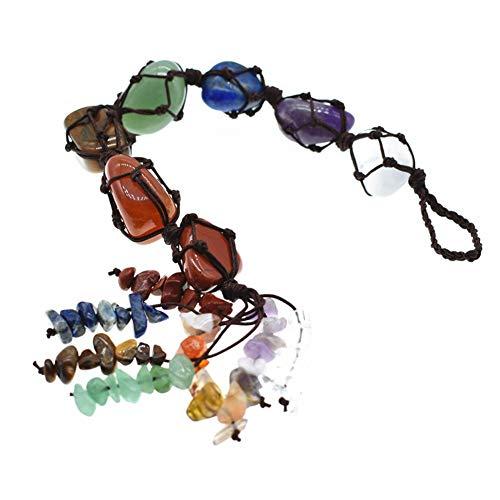 Huieng 7 Chakra Edelstenen helende kristallen, kwast opknoping Ornament voor goed geluk, Yoga Meditatie, Reiki Tumbled Edelsteen raam ornament, Chakra stenen Set