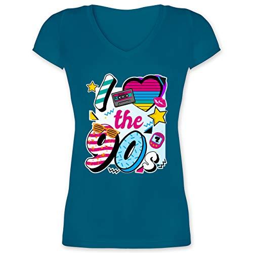 Statement - I Love The 90s bunt - S - Türkis - 90er Jahre Outfit - XO1525 - Damen T-Shirt mit V-Ausschnitt