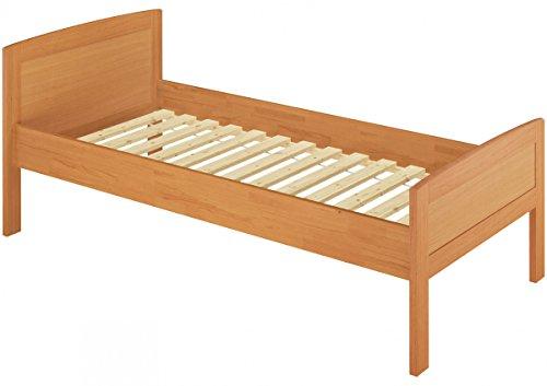 Erst-Holz® Einzelbett Seniorenbett 120x200 Massivholzbett Holzbett Buche Natur Rollrost 60.72-12