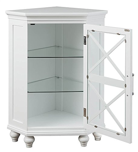 Elegant Home Fashions Blue Ridge Corner Floor Cabinet in White