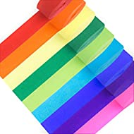 98.4 Feet Crepe Paper Streamers | Pack of 9 Color Rolls | Party Rainbow Decorations in Red, Orange, Yellow, Green, Blue & Purple | Fun Colorful, Booth Backdrop, Wedding Ceremony, Festival & Event Decor