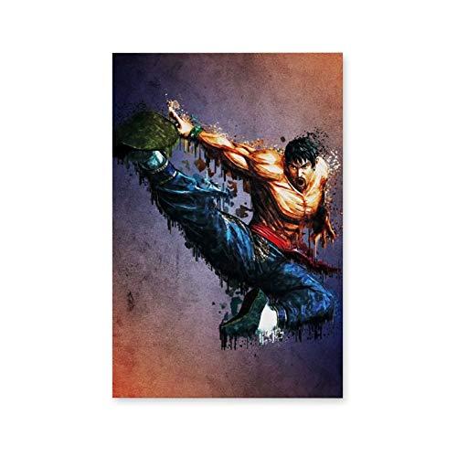 Sztuka ścienna prawa marszałkowskiego Tekken obraz na płótnie rozciągnięty nieoprawiony styl 1 obrazy na płótnie gotowe do powieszenia do dekoracji wnętrz dekoracja ścienna 12 x 18 cali (30 x 45 cm)