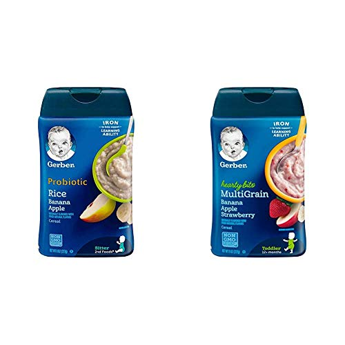 Gerber Baby Cereal Probiotic Rice Banana Apple Baby Cereal (Pack of 6) & Baby Cereal Hearty Bits Multigrain Cereal Banana Apple Strawberry, 8 Ounce, Pack of 6